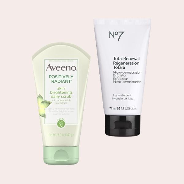 SAVE: Aveeno Positively Radiant Brightening & Exfoliating Face Scrub   No7 Total Renewal Micro-Dermabrasion Exfoliator