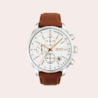 (5) Grand Prix Chronograph Leather Strap Watch, 44mm