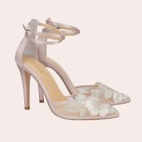 6) Embroidered Ankle Strap Pump |