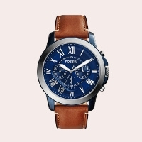 (7) 'Grant' Round Chronograph Leather Strap Watch, 44mm