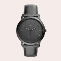 (8) Minimalist Leather Strap Watch, 44mm
