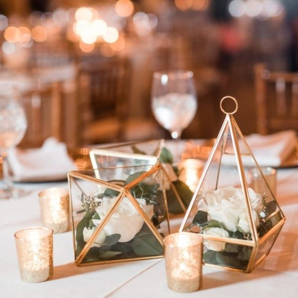 Easy Ways To Elevate Your Wedding Tablescape - gold candle votives
