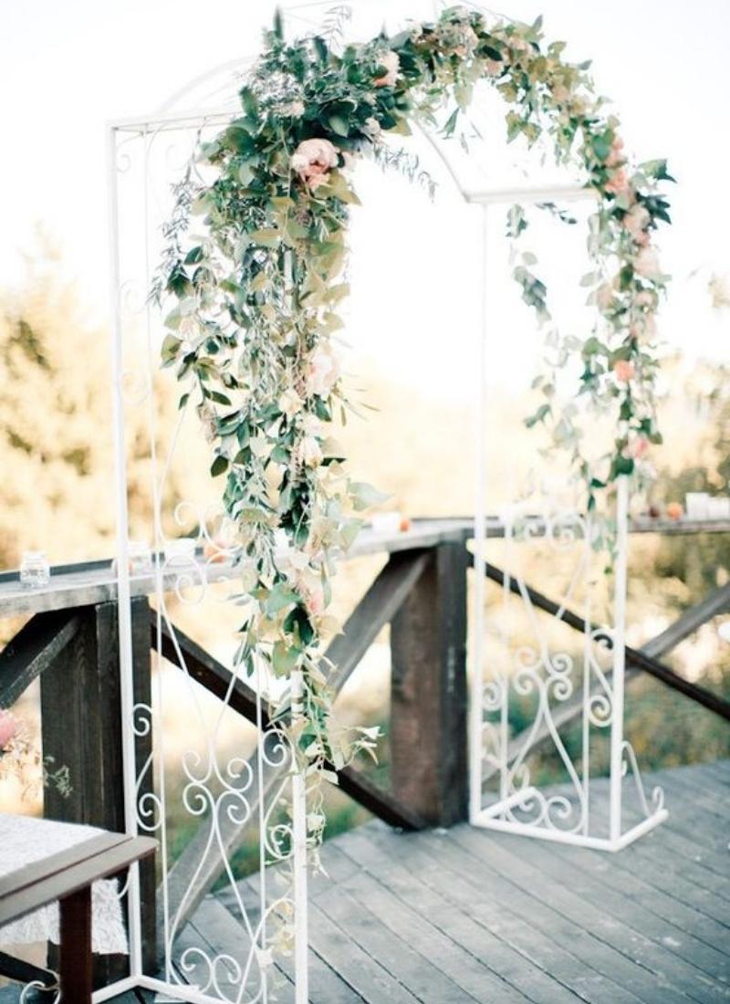 DIY Wedding Ceremony Arch - greenery simple arch