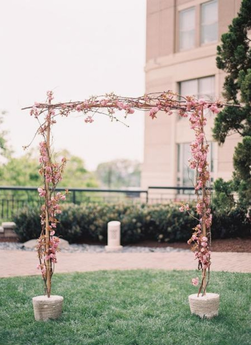 DIY Wedding Ceremony Arch - cherry blossoms
